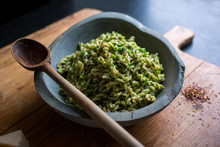Fusilli With Broccoli Served In Bowl