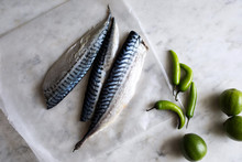 Overhead View Of Mackerel On Parchment Paper