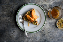 Overhead View Of Apricot Tart Slice On Plate