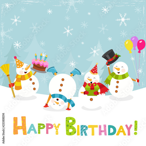 Photo  Winter Birthday Card With Snowmen