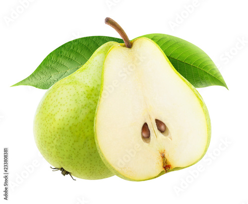 Isolated pears. One and a half green yellow pear fruits on a branch isolated on white background with clipping path