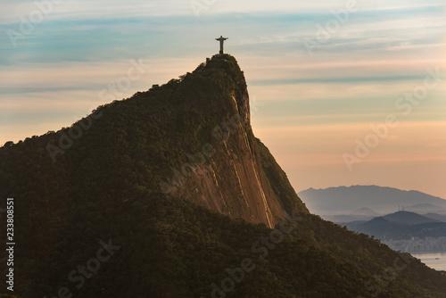 Canvas Print View of Corcovado Mountain in Rio de Janeiro at Sunrise