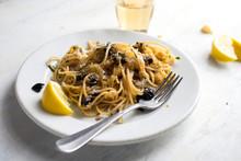 Close Up Of Spaghetti Served O...