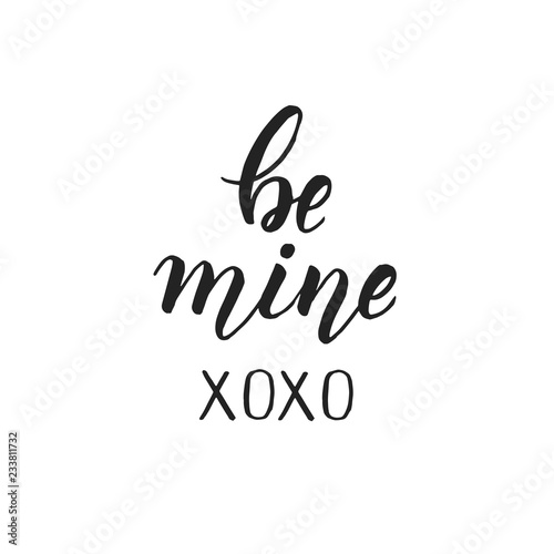 Photo Stands Owls cartoon Be mine - Handwritten motivational quote isolated on white. Lettering calligraphy phrase. Happy Valentine's Day.