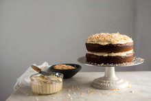 Roasted Banana And Coconut Cake On Cake Stand