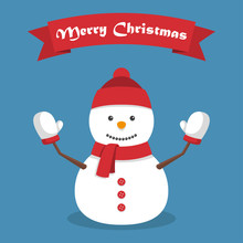 Christmas Snowman With Shadow In A Flat Design With Ribbon