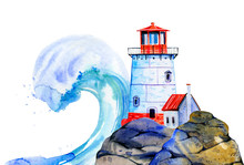 White Cartoon Lighthouse And S...