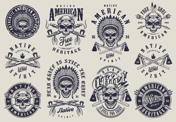 Vintage native american indians labels set