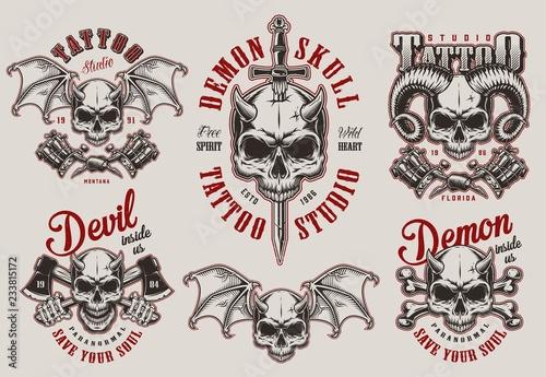 Fényképezés  Vintage demon tattoo studio prints set