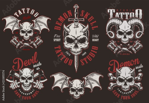6a0a9923b Vintage demon skull tattoo studio labels - Buy this stock vector and ...