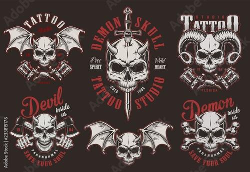 Vászonkép  Vintage demon skull tattoo studio labels