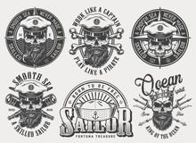 Vintage Monochrome Nautical Labels Set