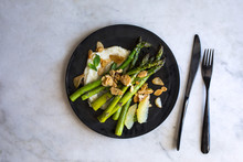 Overhead View Of Lemony Mashed Potatoes With Asparagus, Almonds And Mint