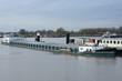 hoogwater in een haven bij de rivier de Rijn met een aangelegde vrachtboot en passagiersboot