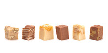 Six Different Flavors Of Fudge On A White Background
