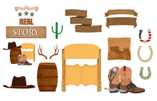 Wild West, Texas Set With, Cac...