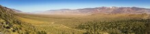 Wide Panoramic Landscape View Of Owens Valley And US Plains On East Flanks Of Sierra Nevada Mountains Below Mount Whitney Near Lone Pine California