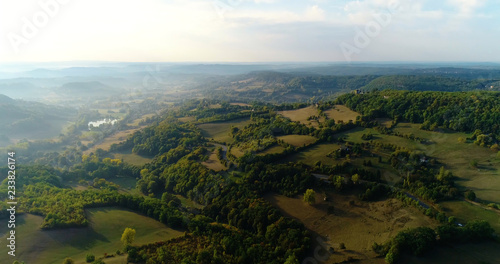 Poster South America Country field in aerial view, Turenne France