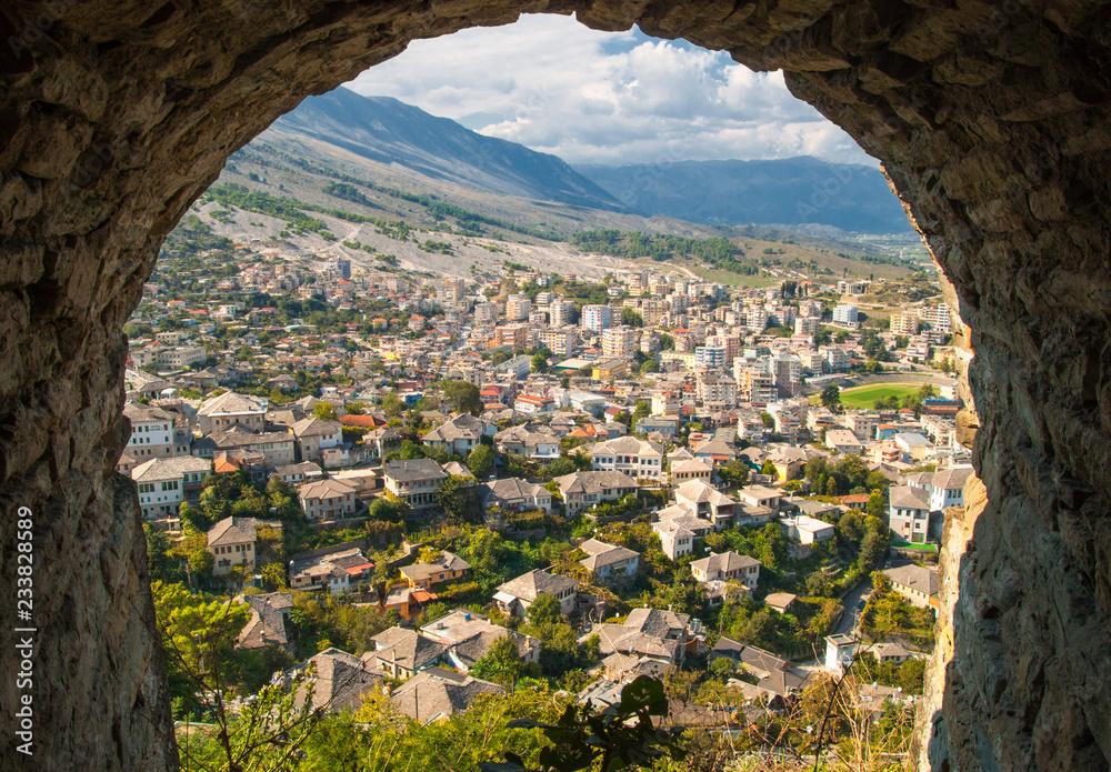 Fototapety, obrazy: View of Old Town Gjirokaster from the castle, UNESCO World Heritage Site, Albania