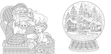 Coloring Pages With Santa Claus And Magic Snow Ball