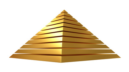 Golden pyramid isolated on white. 3D rendering