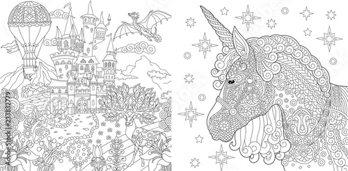 Coloring pages with fairytale castle and magic unicorn