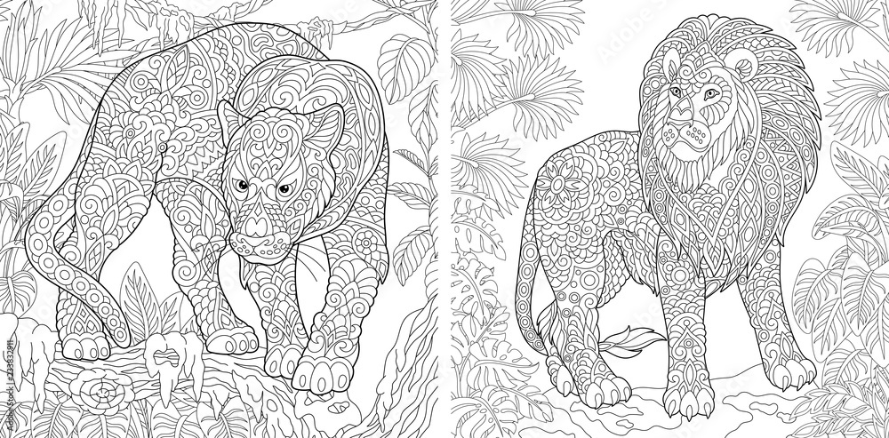 Fototapeta Coloring pages with panther and lion