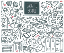 Back To School Doodle Set. Sport, Art, Reading, Science, Geography, Biology, Physics, Maths, Astronomy, Chemistry. Hand Drawn Vector Illustration Isolated On White Background.