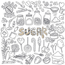 Sugar And Sweets Doodles Set. Hand Drawn Vector Illustration Isolated On White Background