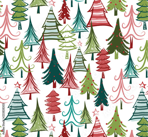 Fotografie, Obraz  Christmas tree seamless pattern