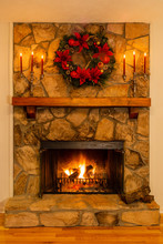Stone Fireplace With A Glowing...