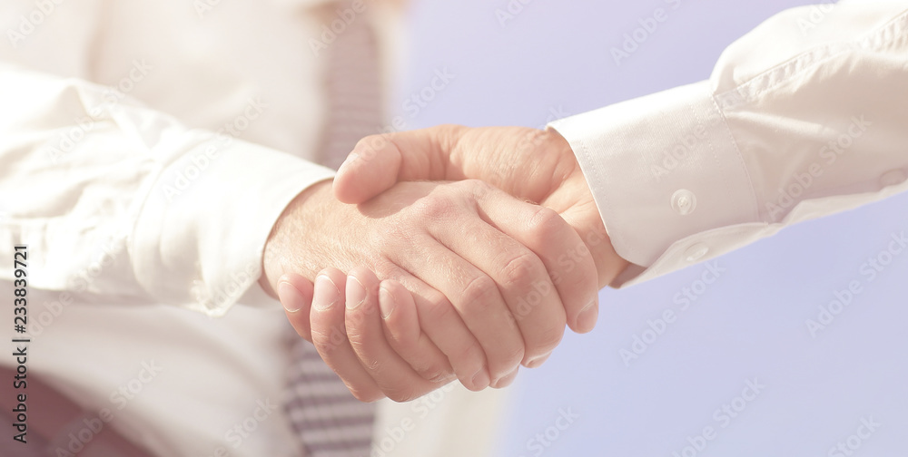 Fototapeta Close-up photo of handshake of two successful businessmen