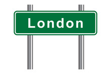 London Road Sign, Green Isolat...