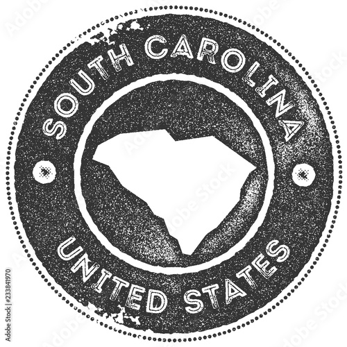 Vintage South Carolina Map.South Carolina Map Vintage Stamp Retro Style Handmade Label Badge