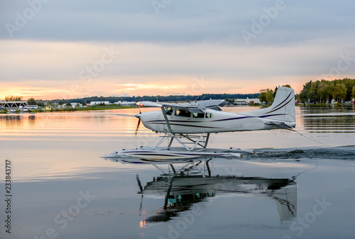 Float Pontoon Airplane Landing in a Lake in Anchorage Alaska Canvas Print