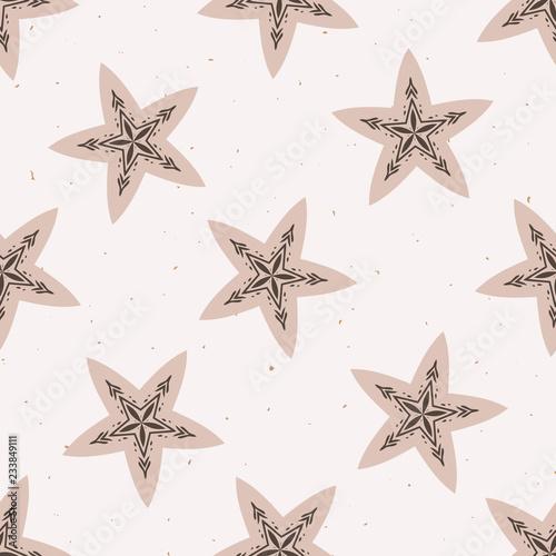 Fotografija  Winter Rustic Stars Lino Cut Texture Seamless Vector Pattern, Sketchy Folk Snowflake  Blockprint