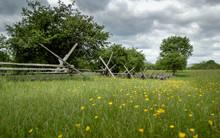 Civil War Fence At New Market Battlefield In Virginia