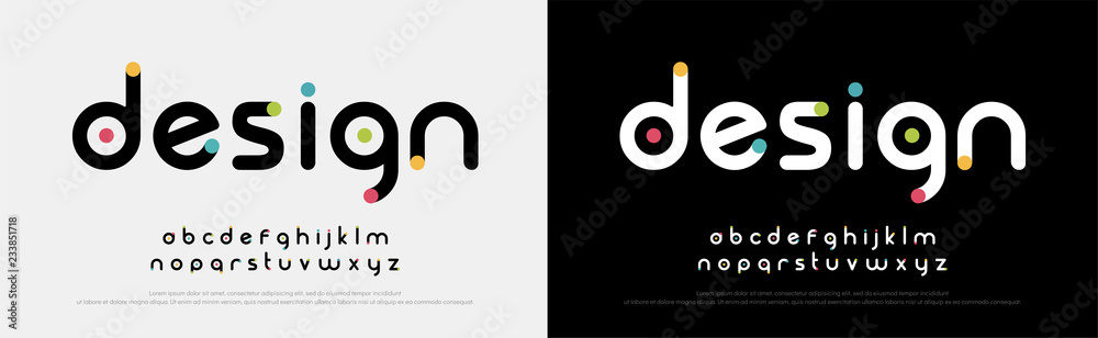 Fototapety, obrazy: Future font creative modern alphabet fonts. Typography colorful bold witn color dot regular. vector illustrator