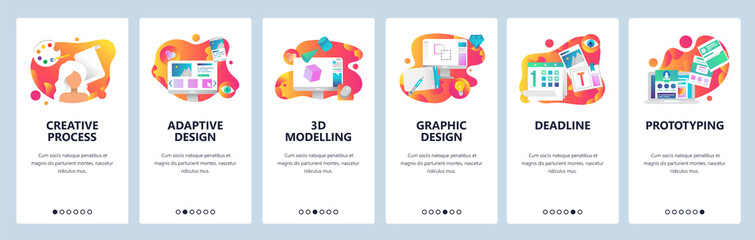 Vector web site onboarding screens gradient template. Graphic design, prototyping, creative artist and 3d modelling. Menu banners for website and mobile app development. Modern design flat
