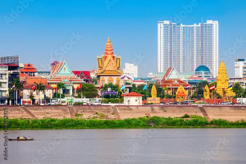 Poster Lieu connus d Asie Phnom Penh city skyline, Cambodia