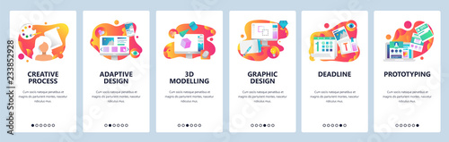 Obraz Vector web site onboarding screens gradient template. Graphic design, prototyping, creative artist and 3d modelling. Menu banners for website and mobile app development. Modern design flat - fototapety do salonu