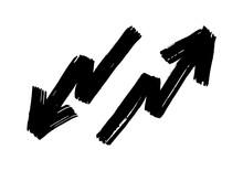 Hand Drawn Zigzag Arrows Set Isolated On White Background. Brush Stroke. Grunge Texture.