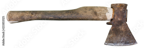Old ax isolated on white background Canvas Print