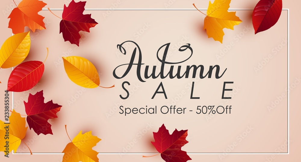 Fototapety, obrazy: Autumn sale background with colorful leaves