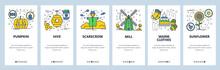 Vector Web Site Linear Art Onboarding Screens Template. Farm, Garden, Mill, Sunflower. Menu Banners For Website And Mobile App Development. Modern Design Flat Illustration.