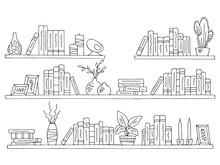 Shelves Set Graphic Black White Isolated Sketch Illustration Vector