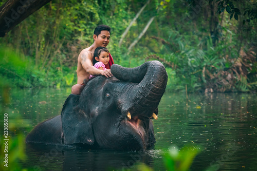 Happy dad and daughter sitting on the elephant, Thailand Wallpaper Mural