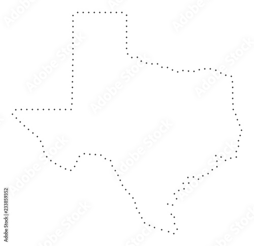 Map Of Texas Quiz.Vector Stroke Dot Texas State Map In Black Color Small Border