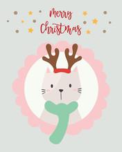 Christmas Card. Cute Cat.
