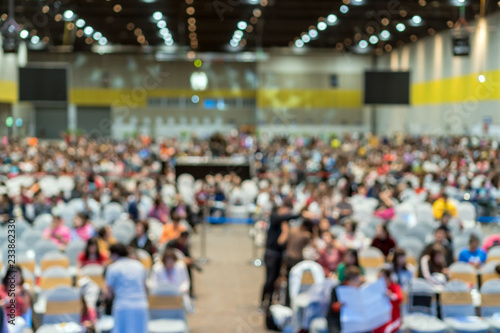 Fényképezés  Abstract blurred photo of conference hall or seminar room in Exhibition Center w